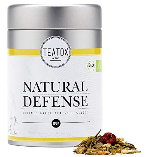 Ingwer Echinacea Tee (TEATOX Natural Defense Tee, Bio Grüntee mit Ingwer (loser Tee im Grobschnitt in Tee-Dose))