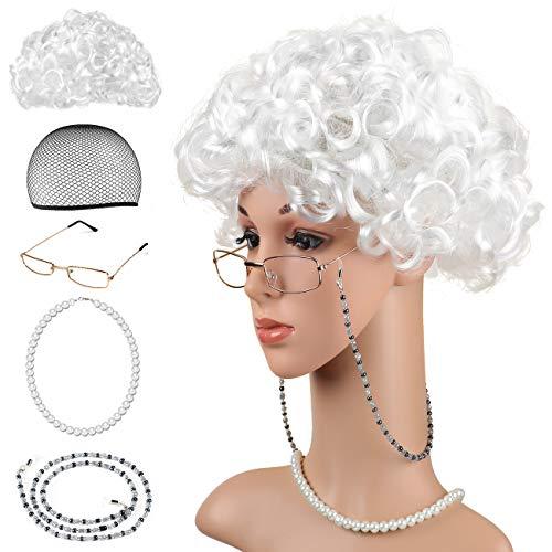 Beelittle Old Lady Kostüm Großmutter Cosplay Zubehör Set - Oma Perücke Perücke Kappe Brille Brillen Ketten Armband Perlenkette - 5 ()