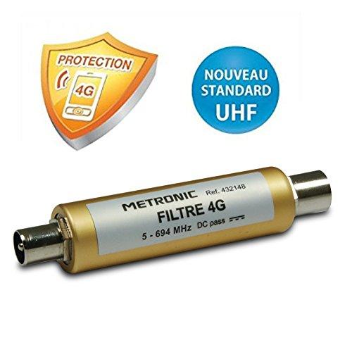 METRONIC - 432148 - Filtre 4G/LTE pour antenne TV hertzienne UHF connexion fiche TV Mâle et Femelle 9,52 mm - Dorée