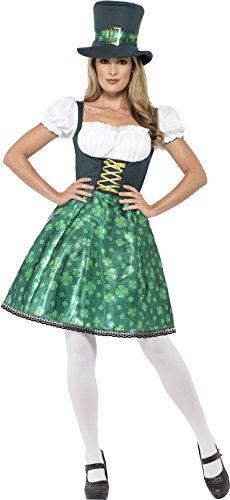 Smiffy's 45511S - Damen Kobold Kostüm, Kleid, Unterrock und Hut, Größe: 36-38, grün (Kobold Kostüme Für Erwachsene)