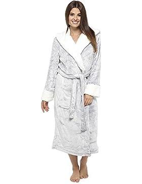 Bata de lujo felpa suave Albornoz Bata de casa estilo cascada Salón estilo albornoz (16-18, gris con capucha)