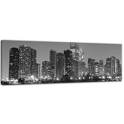 Keilrahmenbild - Chicago - Bild auf Leinwand - 120 x 40 cm - Leinwandbilder - Bilder als Leinwanddruck - Städte & Kulturen - Amerika - USA - Stadtansicht in schwarz weiß