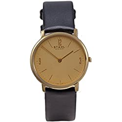 Stahl SWISS MADE Wrist Watch Model: ST61314 - Stainless Steel - Small 27mm Case - Arabic and Bar Gold Dial