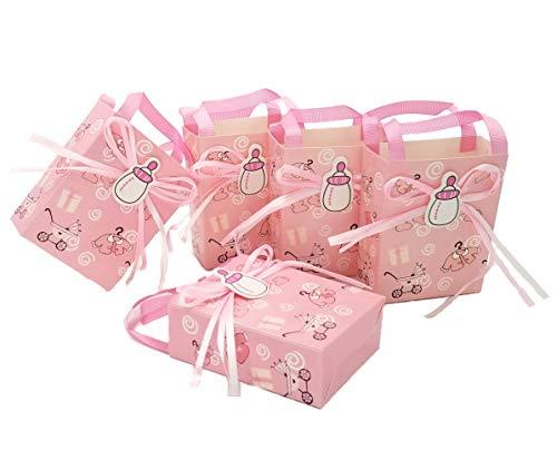 JZK 24 x Rosa Gastgeschenk Süßigkeiten Schachtel mit Babyflasche Muster für Baby Mädchen Geburtstag Taufe Neugeborenen Babyparty Baby Shower Kinder Party
