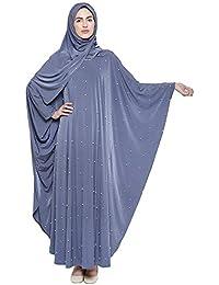 a57414751ba5 ZUZUU Women's Crystal Lycra Butterfly Style Chadri Abaya Stone Work Burqa  with Hijab, Dupatta and