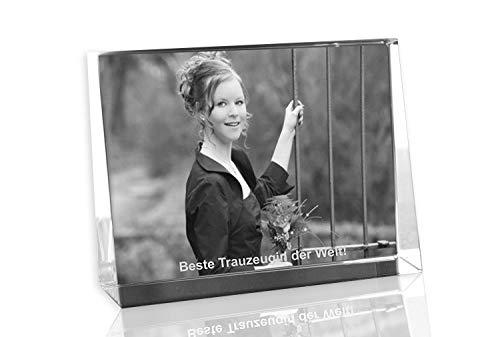 VIP-LASER 2D Gravur Glas Kristall Flachglas selbststehend Querformat mit Einem Foto Freundin oder Trauzeugin. Dein Wunschfoto für die Ewigkeit Mitten in...