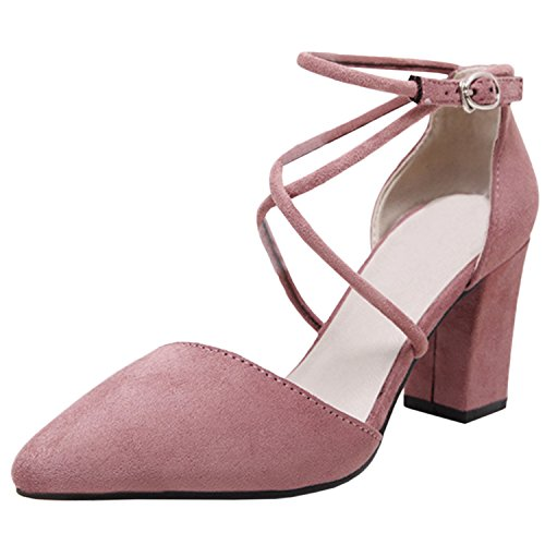 Oasap Women's Pointed Toe Ankle Buckle Block Heels Pumps pink