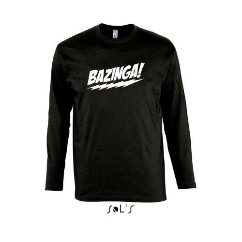 BAZINGA, The Big Bang Theory - Herren Langarm Longsleeve T-Shirt S-XXL , Deep black - weiß , M