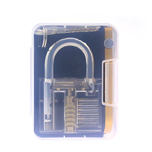 Lockmall Transparent Padlock with Yellow Utility Hardware Combination for Training Practice by Lockmall