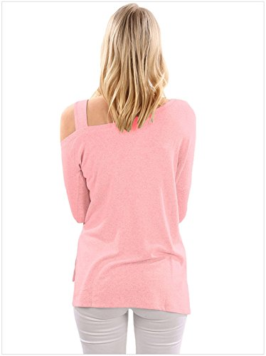Moda a Maniche Lunghe asimmetrico One Spalle Scoperte laterale laterali spacco spacchi T-Shirt Maglietta Tee Top Rosa
