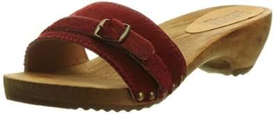 Sanita Wood Safari Fur, Sandales femme - Rouge-V.7, 40 EU