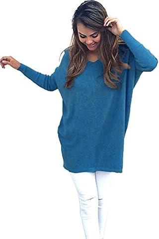 Minetom Damen V-Ausschnitt Pullover Langarm Dünne Lose Jumper Sweatshirt Strickwaren Oversize Tops Blau DE 44