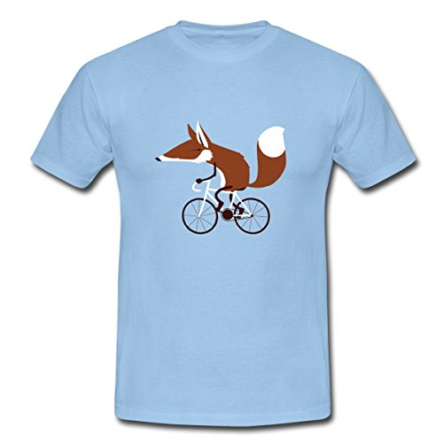 Spreadshirt Fuchs Auf Fahrrad Cycling Fox Männer T-Shirt, M, Sky