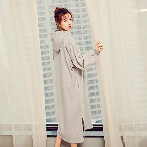 Damen Schlafanzug Baumwollheimservice Fettes MM-Pyjama-Nachthemdmädchen mit Kapuze lösen großen faulen Windrock