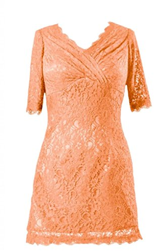 daisyformals courtes V décolleté dentelle robe Vintage en dentelle robe formelle (bm2531) Orange - #22-Orange