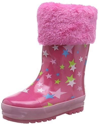 Playshoes Kinder Gummistiefel aus Naturkautschuk, warme Mädchen Regenstiefel mit Innenfutter, mit Sternen-Muster