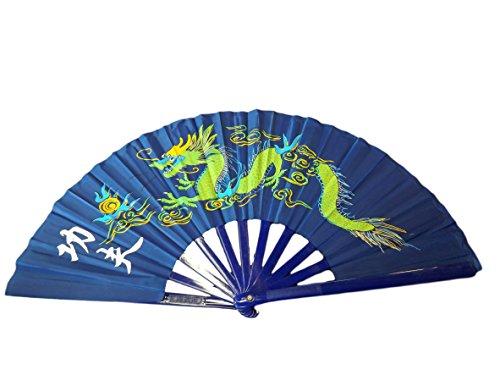 fat-catz-copy-catz® Large Ying-Yang Dragon Plastic & Cotton Chinese Japanese Oriental Burlesque Dancing Fancy Dress Geisha Decorative Hand Fan 24