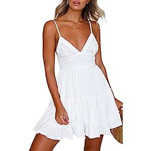 ECOWISH V Ausschnitt Kleid Damen Spitzenkleid Träger Rückenfreies Kleider Sommerkleider Strandkleider Weiß