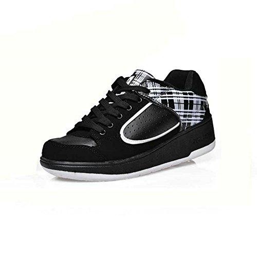 Skate-Schuhe, mit ausklappbaren Rollen, für Jungen und Mädchen geeignet (39 EU, Black White)