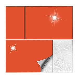 Kiwistar Fliesenaufkleber Orange 34 Glänzend - 15 x 20 cm - 25 Stück - Für Bad, Küche etc