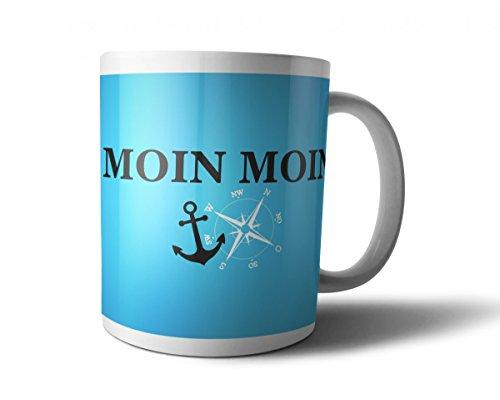 Blaue Tasse mit Spruch MOIN MOIN