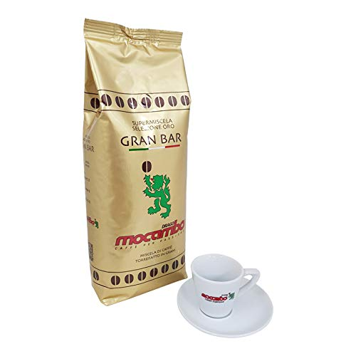 Mocambo Gran Bar Oro Supermiscela inklusive einer Drago Mocambo Espressotasse, 1000g ganze Bohne, MHD 05/2021