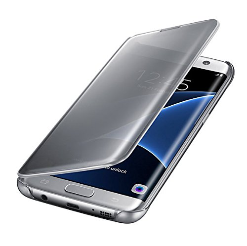 Samsung galaxy s7 edge clear semi-opaque flip view custodia, argento
