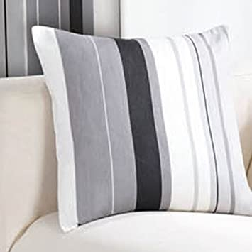 STRIPED BLACK CREAM GREY PAIR LINED EYELET RING TOP CURTAINS ...