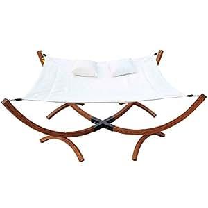 outsunny viereckige h ngematte sonnenliege f r 2 personen mit kissen creme. Black Bedroom Furniture Sets. Home Design Ideas