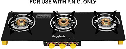 Suryajwala TOUGHENED Glass 3 Burner Frameless Gas Stove Yellow for Domestic PNG (Pipeline Gas) ONLY