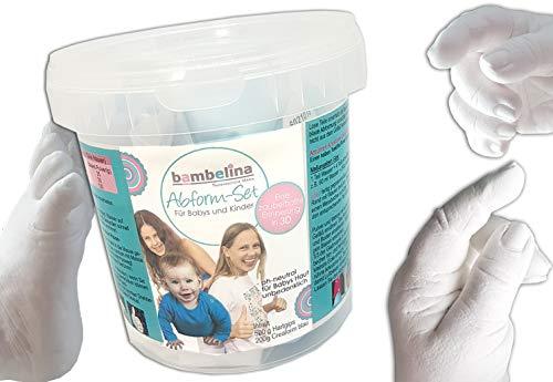 bambelina Handabdruck-Set für Baby- und Kinderhände oder Fuß - im praktischen Abformeimer, Deutsches Produkt