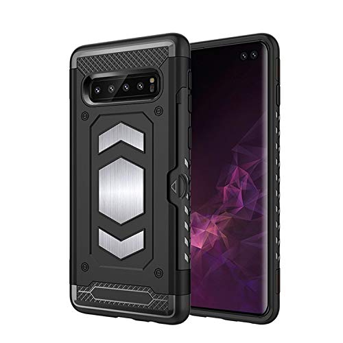 Wubaouk Samsung S10+/S10 Plus Hülle Rugged Armor Phone Protector - Lightweight, Heavy Duty, Shockproof Hülles with Card Slot and Magnetic Back Plate for Car Mount, Wireless Charger Ready Cover - Design Charger Plate
