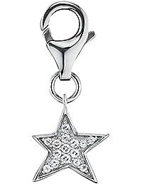 Engelsrufer Star Charm für Damen 925er Sterlingsilber mit 15 weißen Zirkonia besetzt Größe 10 mm