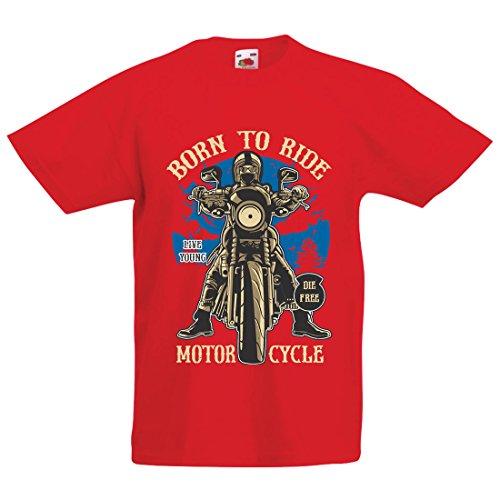 Camiseta Niños/Niñas Live Young - Die Free - Nacido para Montar en Moto, Ideas de Regalos para Ciclistas, Lemas inspiradores (7-8 Years Rojo