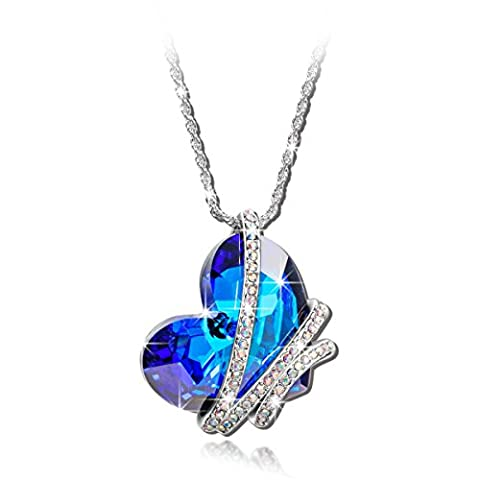 """BEST GIFTS """"Venice Love"""" Blue SWAROVSKI ELEMENTS Crystal White Gold Plated Heart Pendant Women Necklace. Birthday Valentines Mothers day Christmas Anniversary Wedding Gift for Wife Mother Daughter"""