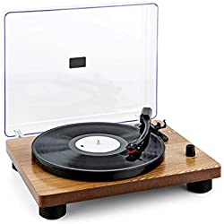 auna TT Classic WD tocadiscos retro (USB, altavoces integrados, Line-Out, digitalizador LP, Plug & Play) - madera clara