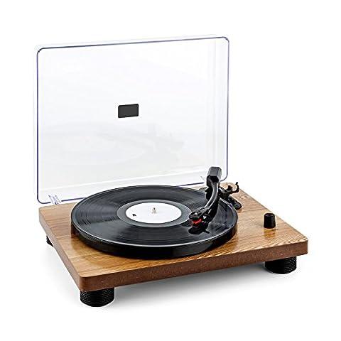 auna TT-Classic WD • Schallplattenspieler • Plattenspieler • Riemenantrieb • USB-Port zum Abspielen und Digitalisieren • 3 Geschwindigkeiten • 33, 45 und 78 U/min. • Stereo-Lautsprecher • Auto-Start • Line-Out • Holz-Furnier • Retro-Design • braun