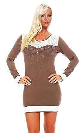 5006 Fashion4Young Damen Strick Minikleid LongPullover Pullover Pulli Long Shirt Kleid in 7 Farben (36/38, Braun)