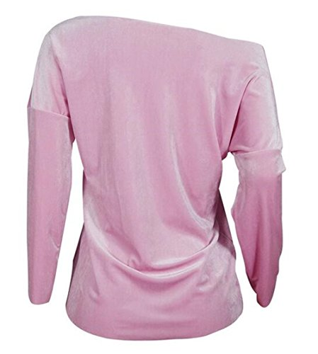 BESTHOO Tops Donna Collare V Moda Elegante Maglie A Manica Lunga Maglietta Paillettes Camicetta Comode T Shirt Top Morbidi Pink