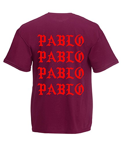 TRVPPY Herren T-Shirt I FEEL LIKE PABLO in vielen versch. Farben mit Rücken -und Brustaufdruck, Gr. S-5XL Weiß-Burgundy