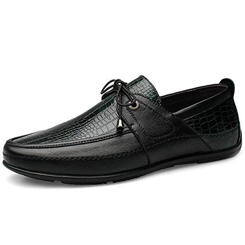 MERRYHE Herren Bootsschuhe Leder Schnürschuh Slip On Klassische Loafer Wohnungen Deck Schuh Flache Fahr Schuhe,Green-39 -