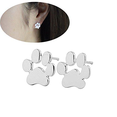 Nikgic 1 Paar Niedlichen Hund Krallen Pfoten Muster Silber Ohrringe Ohrstecker Modeschmuck für Frauen und Mädchen - Pfoten Und Krallen