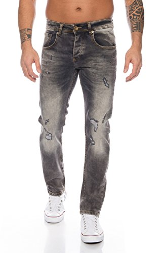Rock Creek Herren Jeans Destroyed DarkGrey RC-2107 [W40 L38]