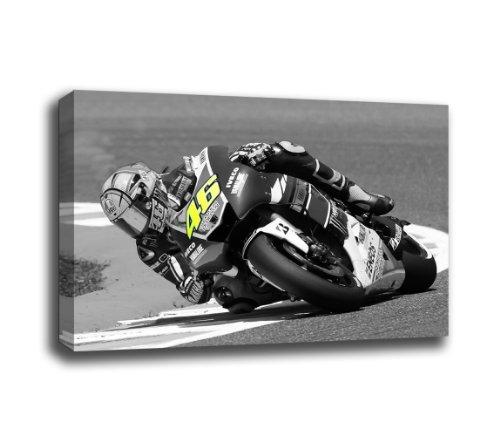 Canvas Culture Leinwanddruck, Motiv Moto GP Valentino Rossi, Schwarz/Weiß 36x24