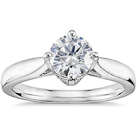 Lilu Jewels 1–1/2ct. t.w Moissanite anello di fidanzamento solitario in argento Sterling