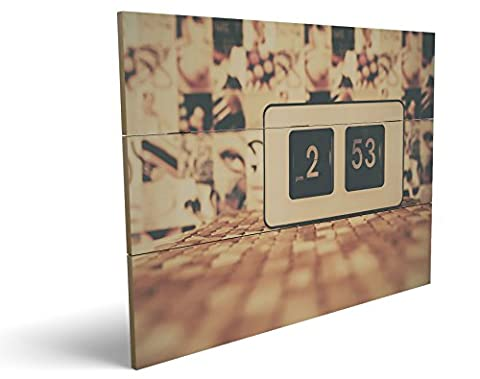 Vintage Uhr, qualitatives MDF-Holzbild im Drei-Brett-Design mit hochwertigem und ökologischem UV-Druck Format: 100x70cm, hervorragend als Wanddekoration für Ihr Büro oder Zimmer, ein Hingucker, kein Leinwand-Bild oder (Zoom Film Kostüm)