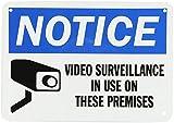 qidushop Rustique Plaque en métal Post Affichage vidéo Surveillance sur Ces locaux Noir sur Blanc en Aluminium Bleu Décoration Murale Plaque Décoration 18x 25cm