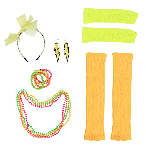 (Toyvian 1980er Jahre Womens Fancy Outfit Party Kostüm Zubehör Set für Mädchen Frauen Night Out Party (Gelb))