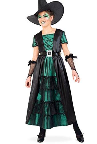 Hexe Smaragd Kleid 164 lang mit Gürtel Teenie Mädchen Gr 140 - (Mädchen Twilight Hexe Kostüme)