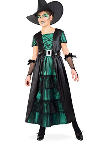 Hexe Smaragd Kleid 164 lang mit Gürtel Teenie Mädchen Gr 140 - 164 (Belle Kostüm Teenager)